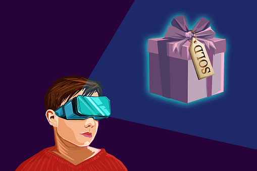 Boy dreaming about his Christmas presents and wearing virtual reality headset