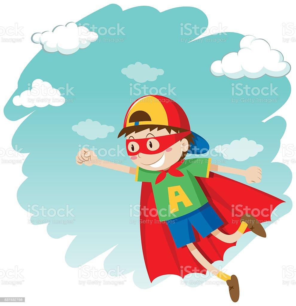 Jungen Anziehen Als Superheld Fliegen Stock Vektor Art und mehr