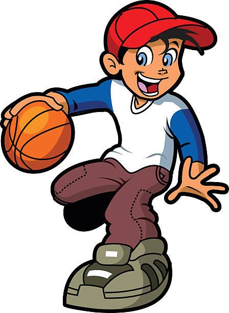 Boy Dribbling Basketball vector art illustration