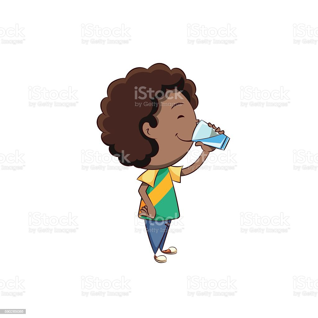 Boy drinking glass of water vector art illustration