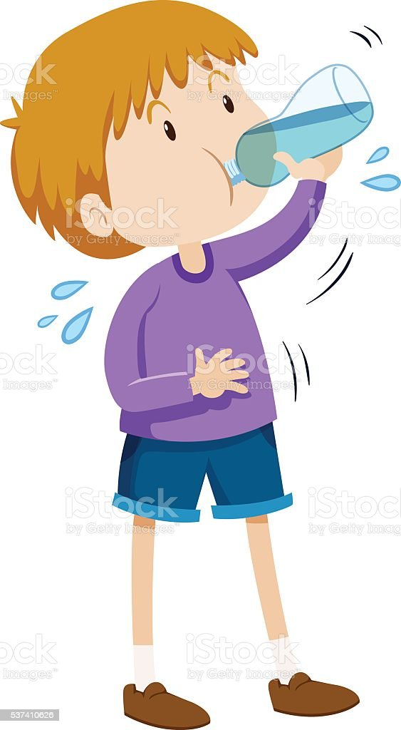 Boy drinking water from bottle vector art illustration