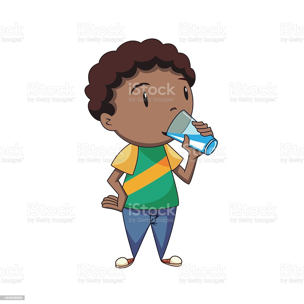 Boy drinking water vector art illustration