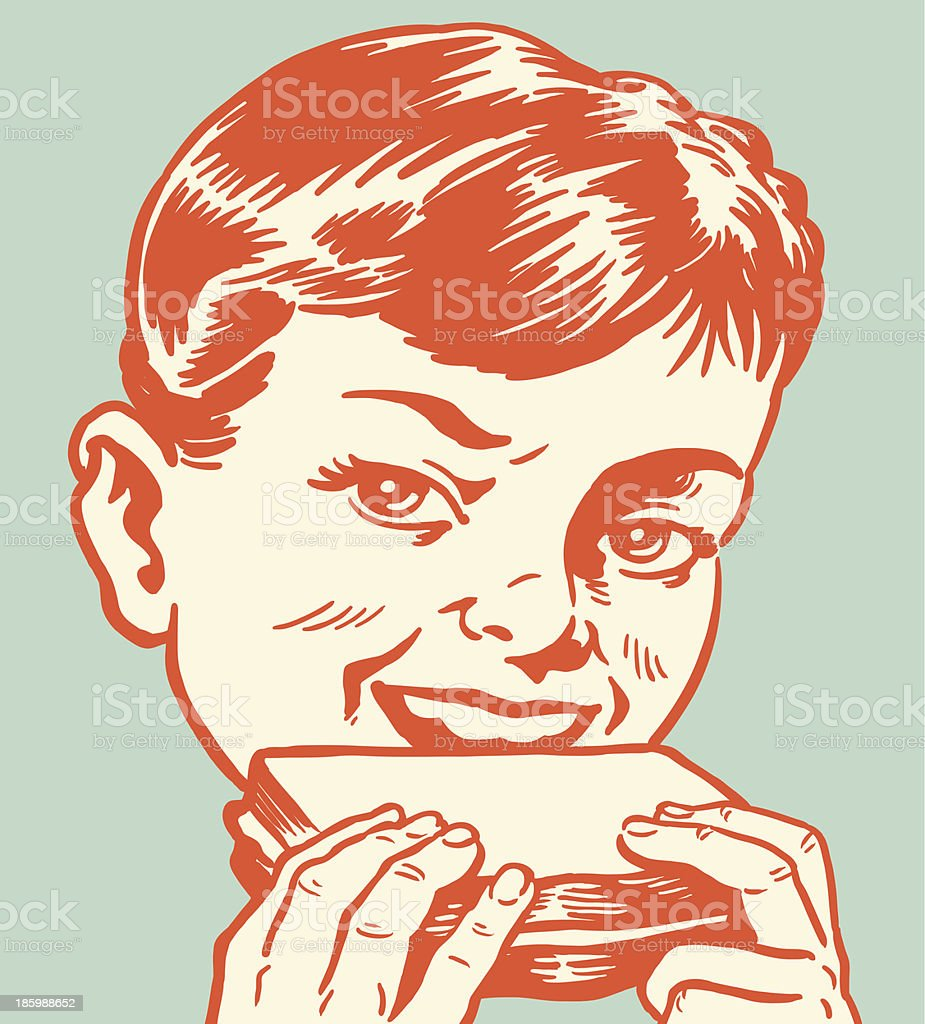 Boy Eating a Sandwich vector art illustration