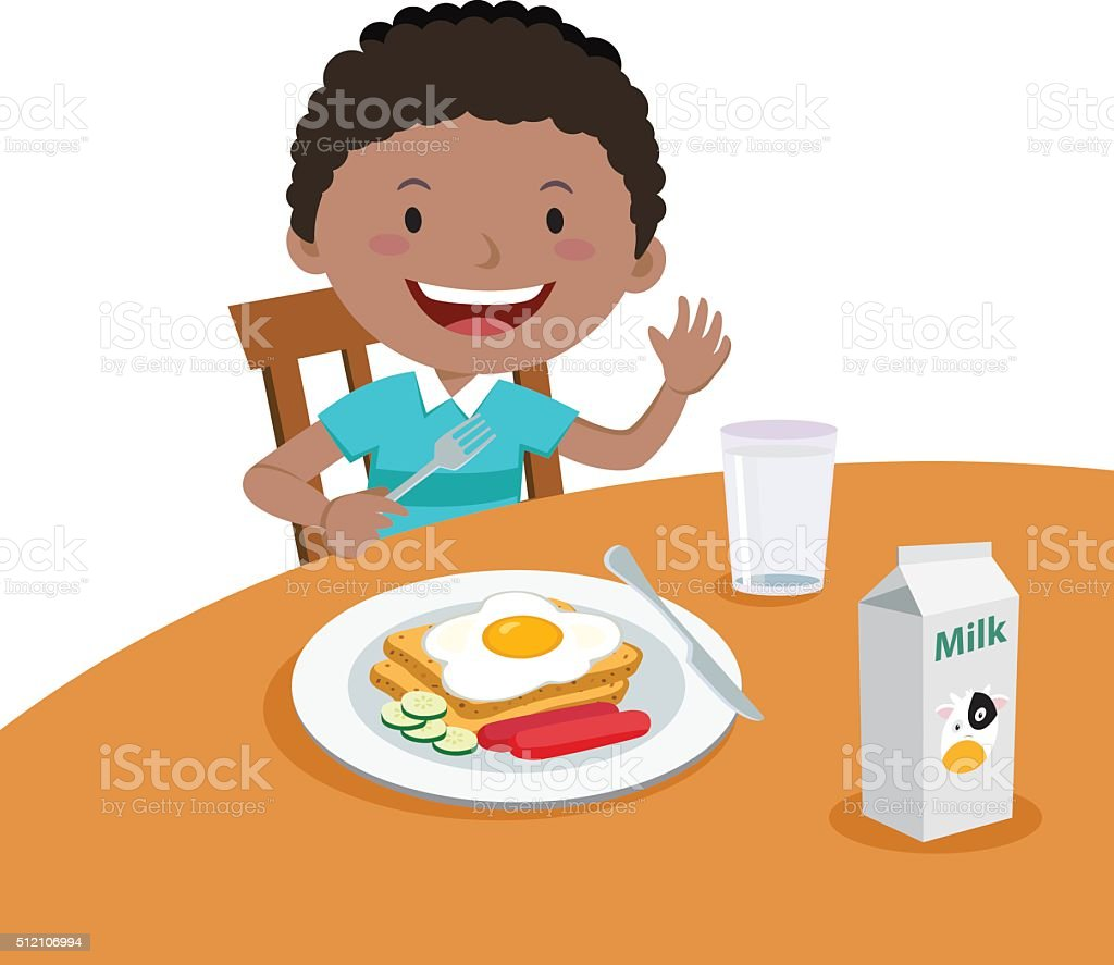 Boy eating breakfast vector art illustration
