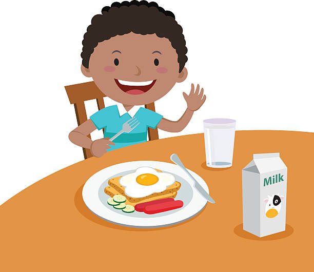 Royalty Free Eating Child Breakfast Cartoon Clip Art ...
