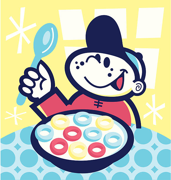 boy eating cereal - peter bajohr stock illustrations