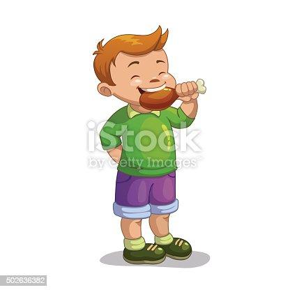 Cute cartoon boy eating chicken leg, isolated vector illustration