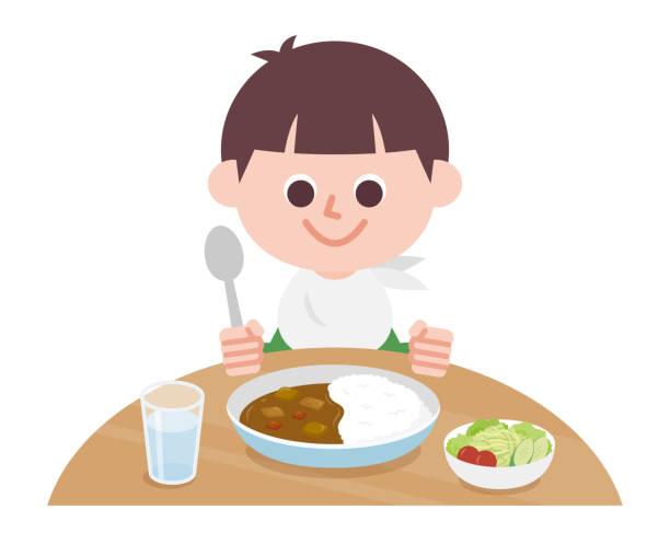 カレーライスを食べる少年 - カレー点のイラスト素材/クリップアート素材/マンガ素材/アイコン素材