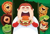 vector illustration of boy eating hamburger with wild animals