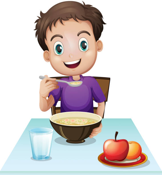 Boy eating his breakfast at the table vector art illustration