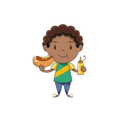 Boy eating hot dog, cute child fast food