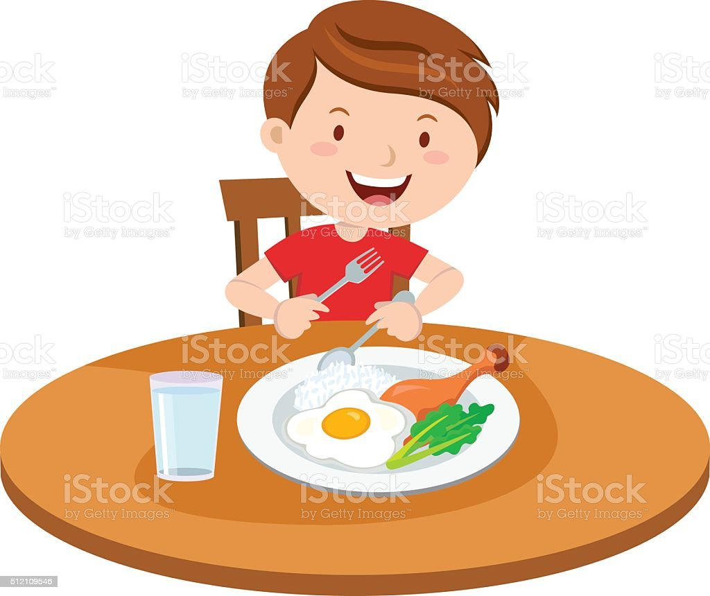 Boy eating meal vector art illustration