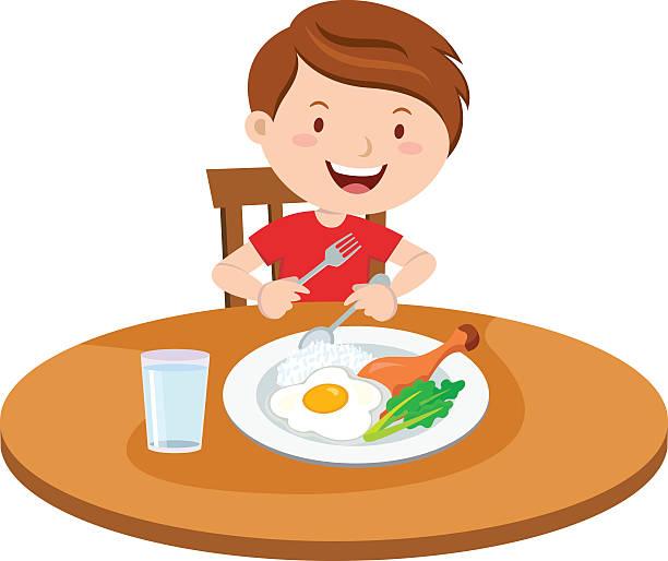 ilustrações de stock, clip art, desenhos animados e ícones de menino comer a refeição - eating
