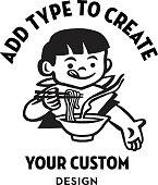 istock Boy Eating Noodles Design Format 1328138818