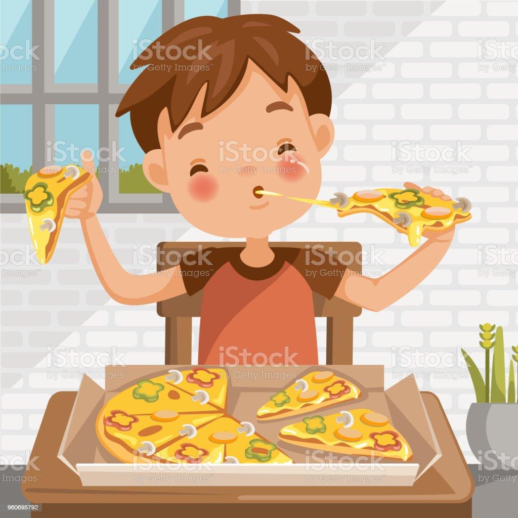 Boy eating pizza vector art illustration
