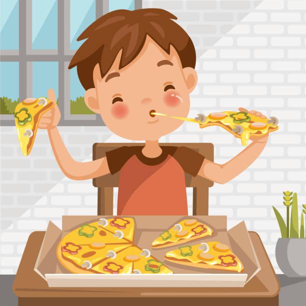 ilustrações de stock, clip art, desenhos animados e ícones de boy eating pizza - eating