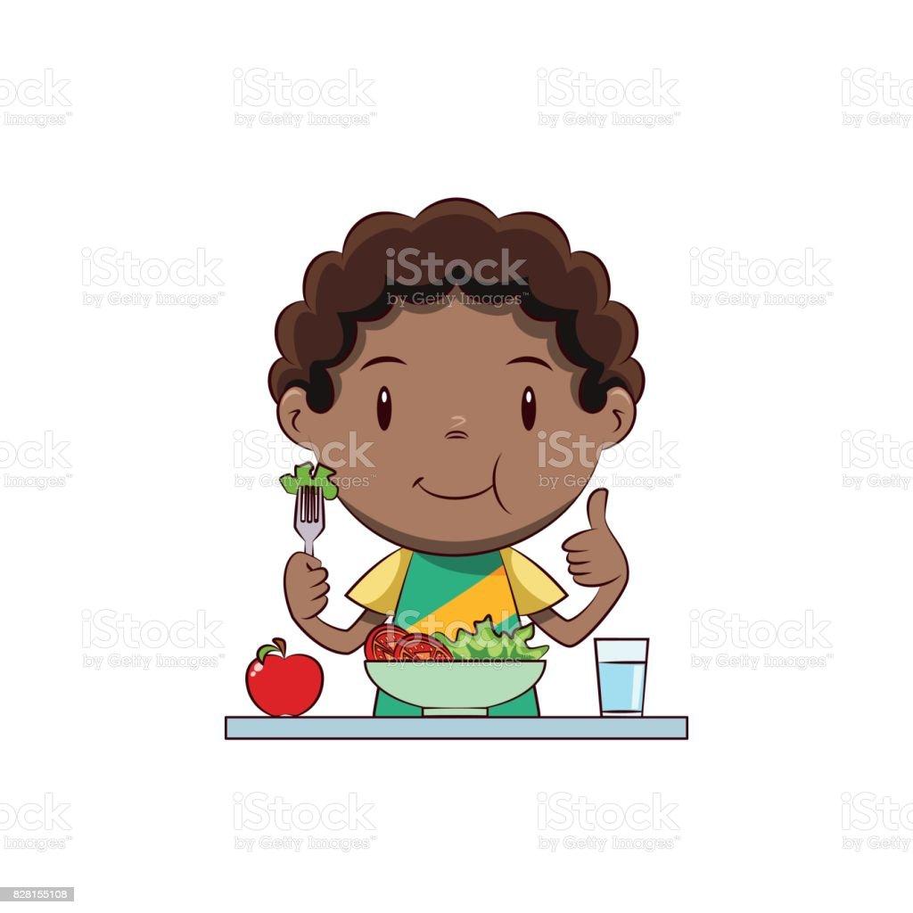 Boy eating salad vector art illustration