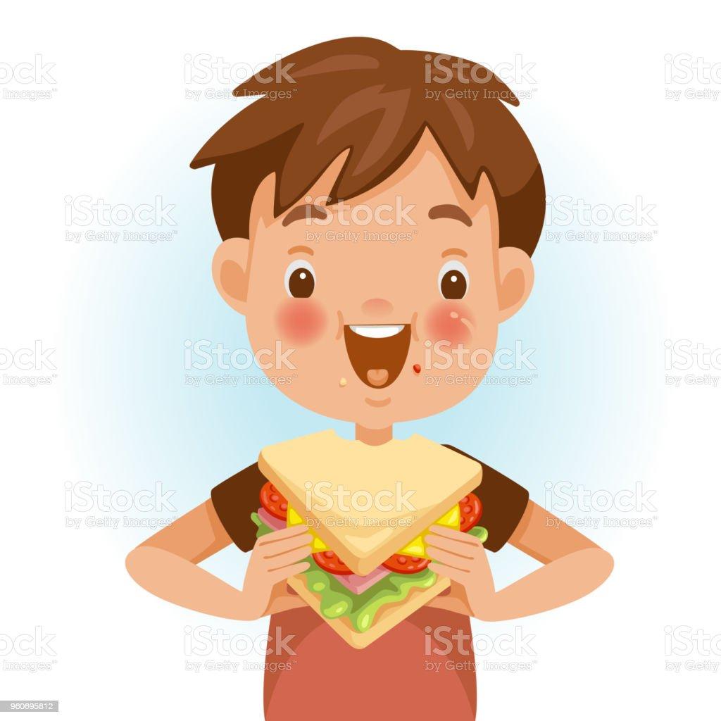 Rapaz comendo Sanduíche - ilustração de arte em vetor