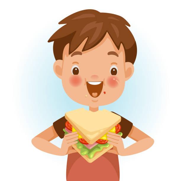 ilustrações de stock, clip art, desenhos animados e ícones de boy eating sandwich - eating