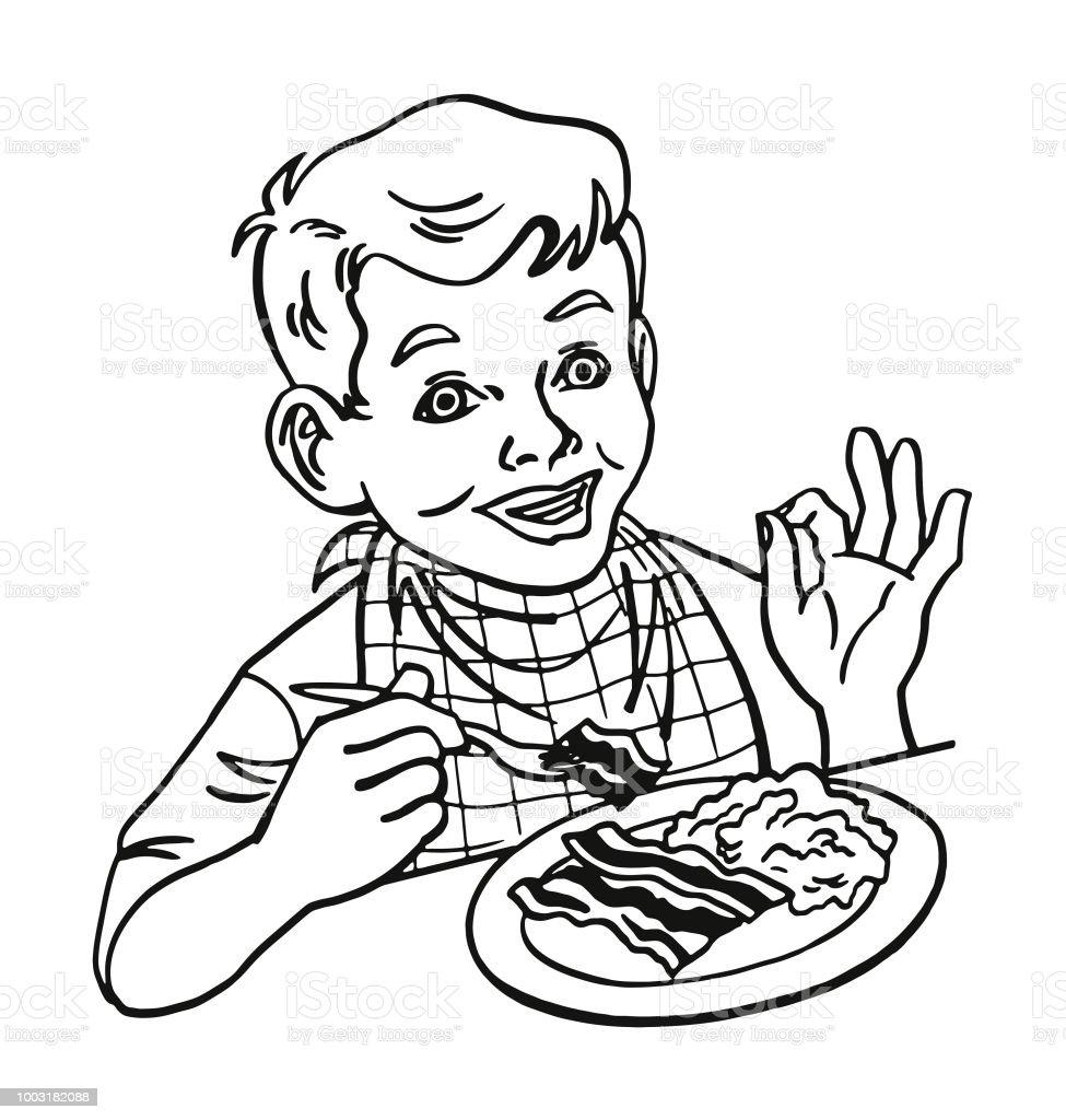 Ilustración De Niño Comiendo Huevos Revueltos Y Bacon Y Más Vectores
