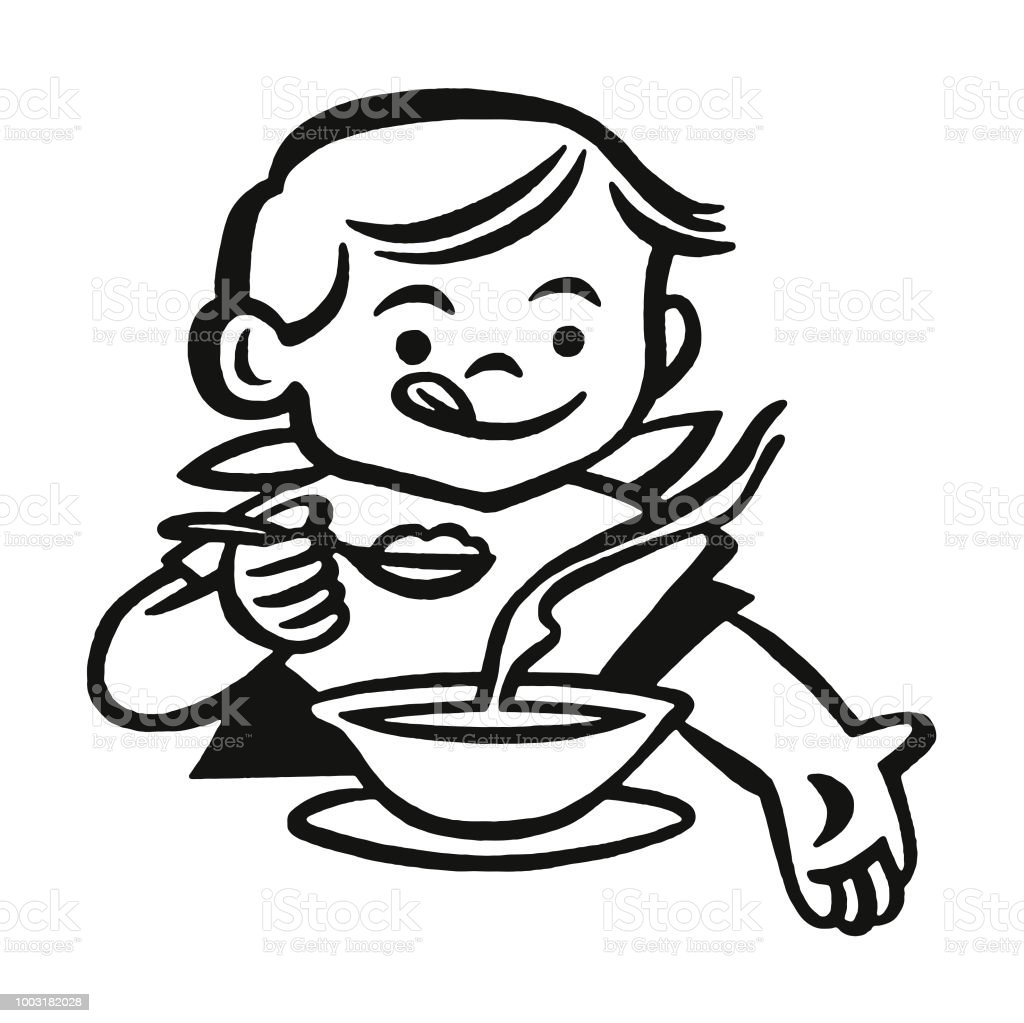 Boy Eating Soup vector art illustration