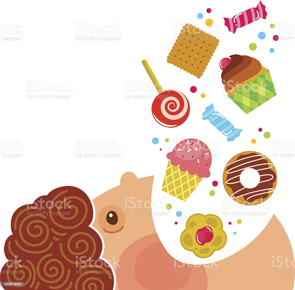 boy eating sweets vector art illustration