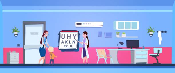 junge augen exaination mit augenarzt arzt im krankenhaus-büro - illustration optician stock-grafiken, -clipart, -cartoons und -symbole