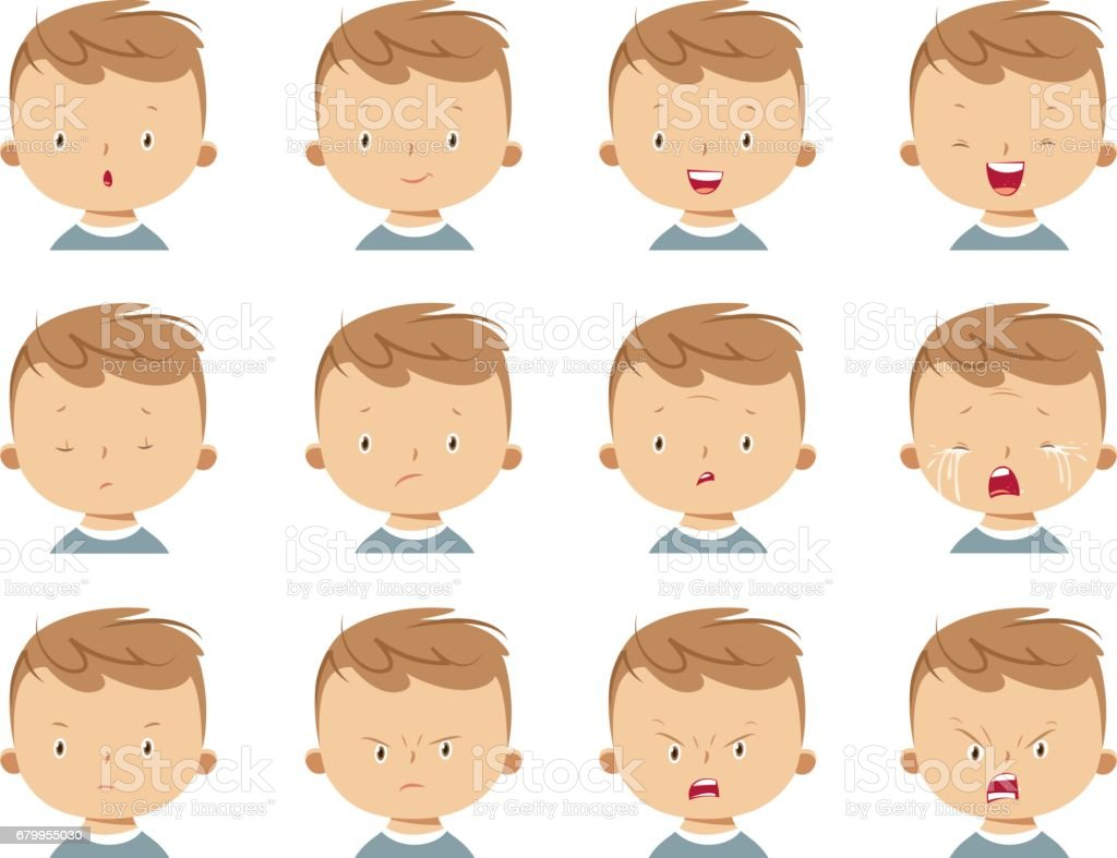 Boy face expressions vector art illustration