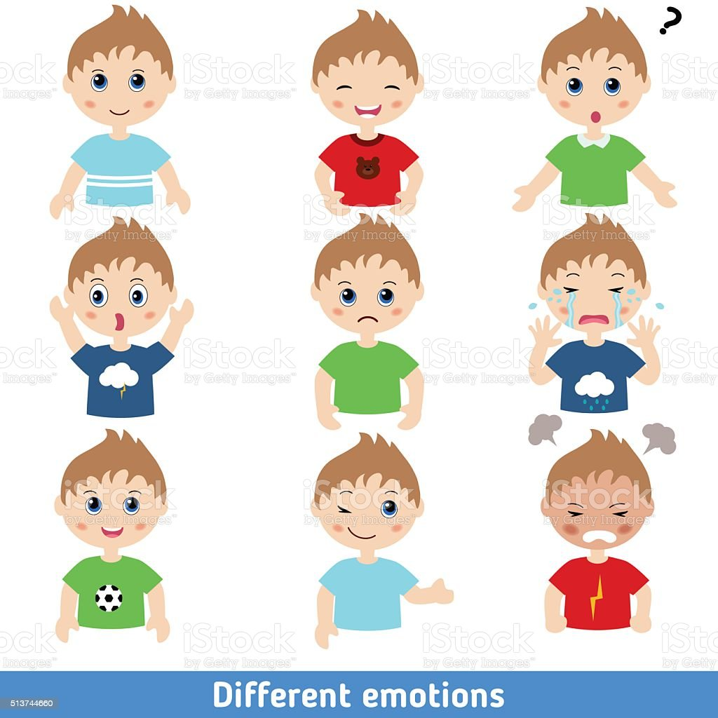 Boy faces vector art illustration