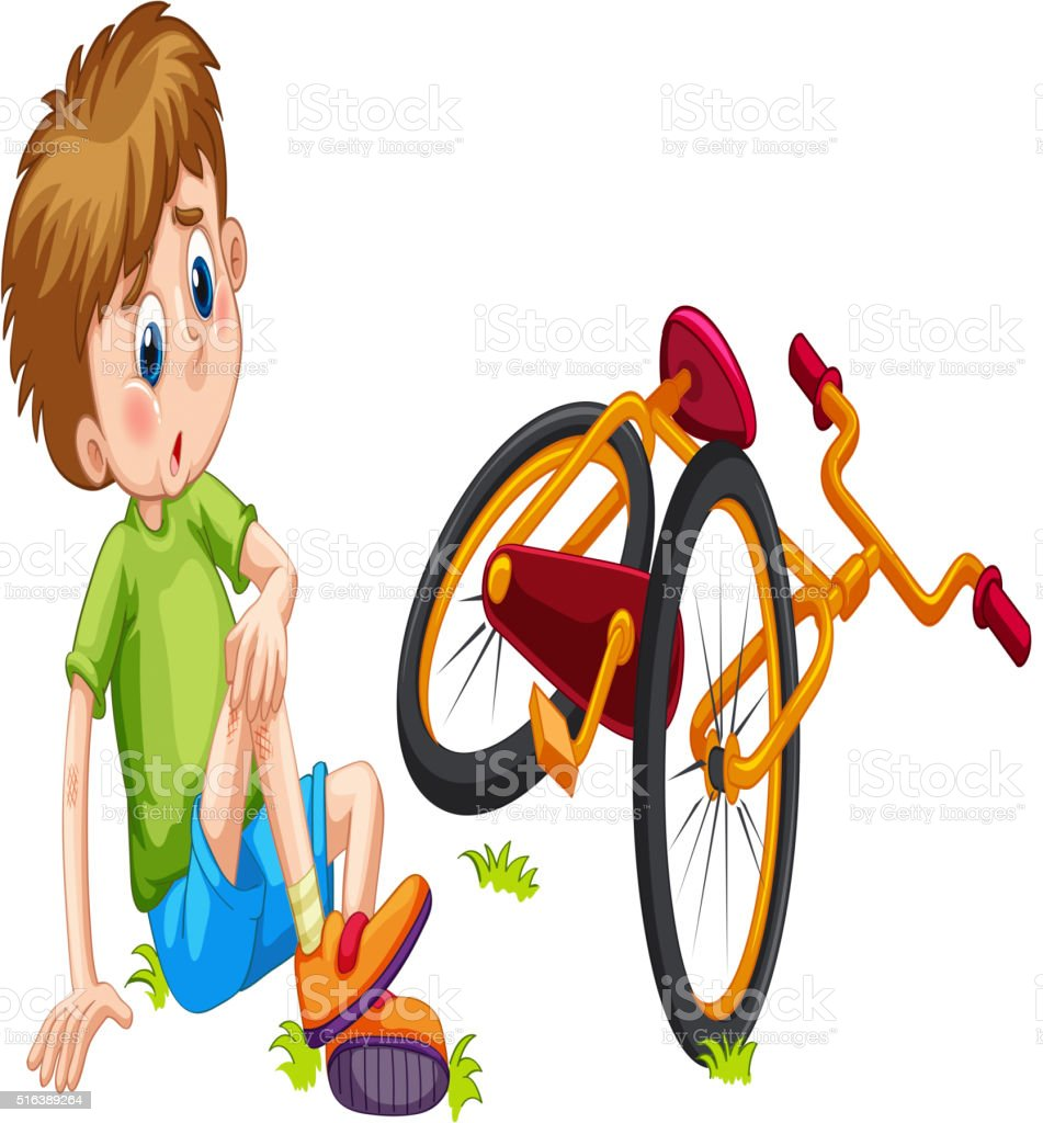 Boy fallen off the bicycle vector art illustration