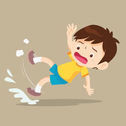 boy falling on wet floor