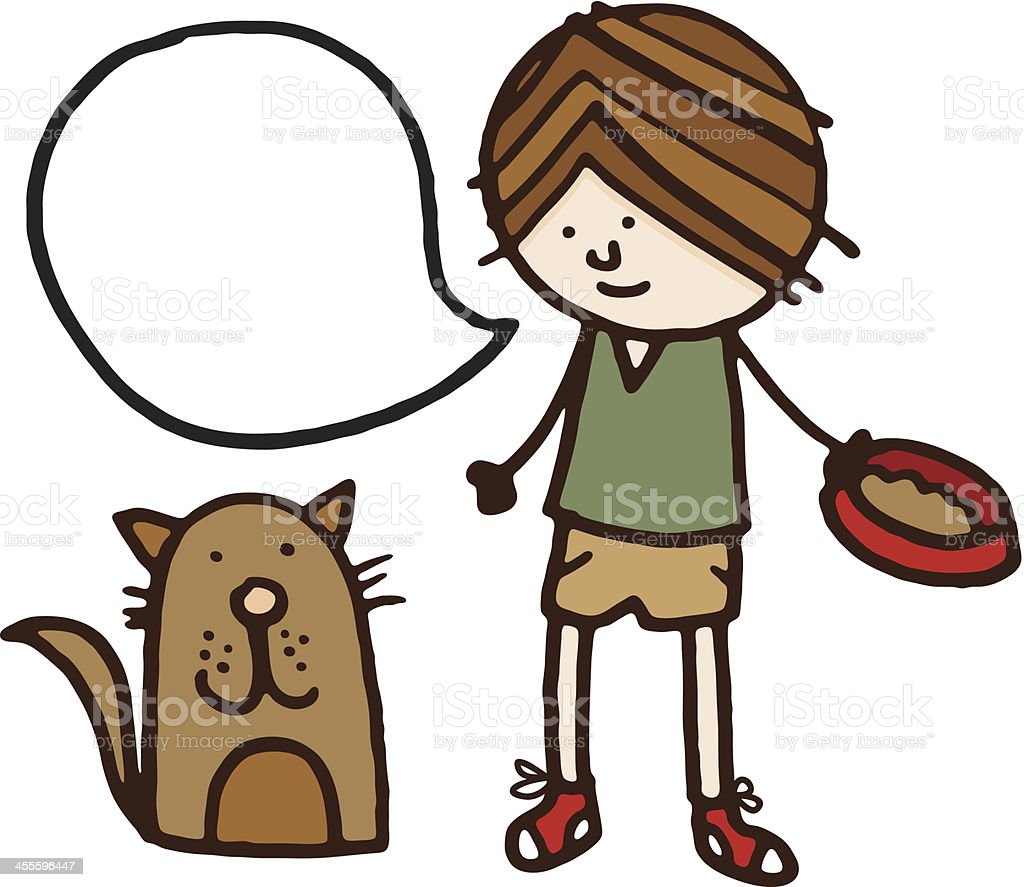 Boy feeding and talking to his pet cat royalty-free stock vector art