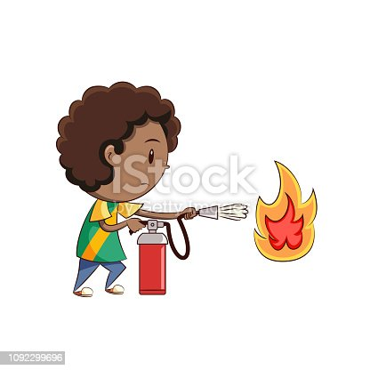 Child using fire extinguisher, cute kid extinguishing flame, boy, danger situation, emergency, equipment, safety, procedure, cartoon, character, young man, person, vector illustration, isolated, white background