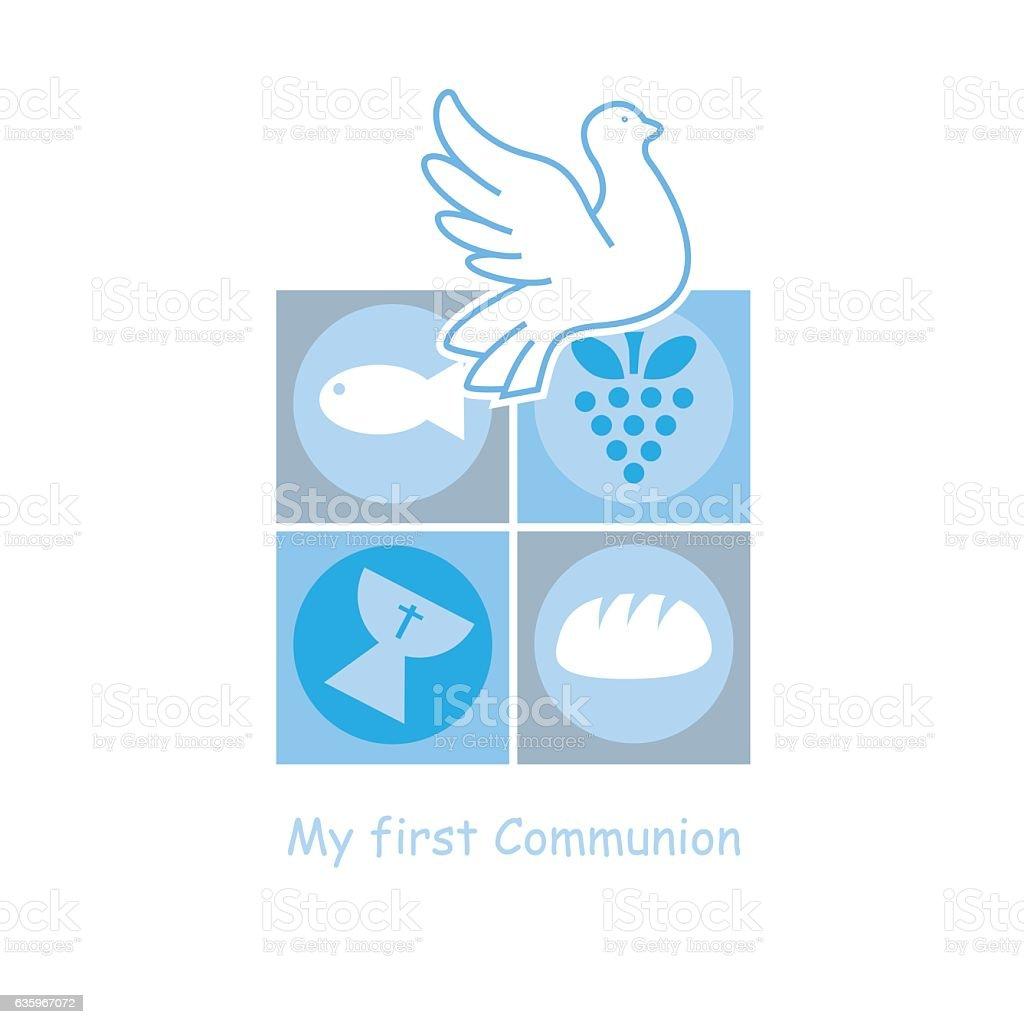 Rapaz primeira Comunhão cartão - ilustração de arte vetorial