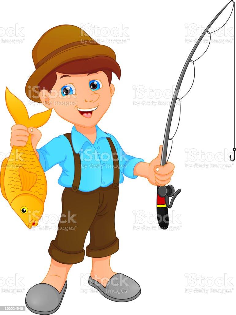 Boy Fishing Holding Fish Cartoon Stock Illustration Download Image Now Istock