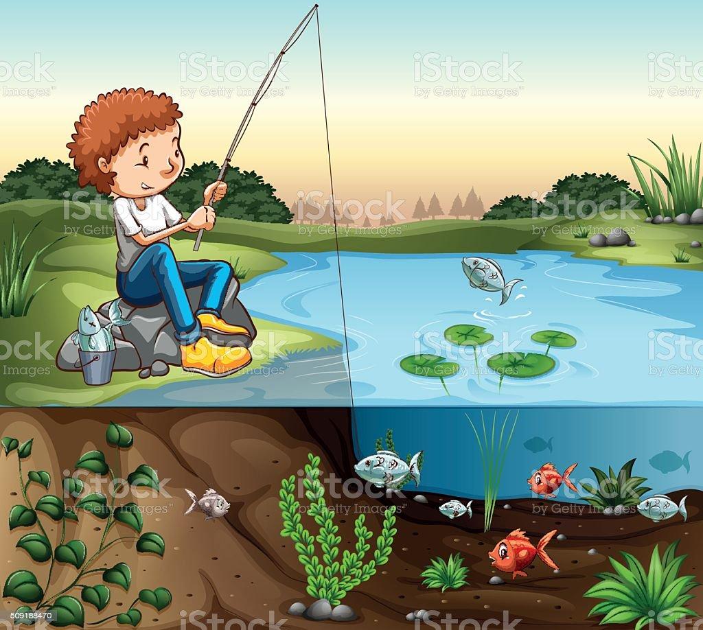 Boy fishing river vector art illustration