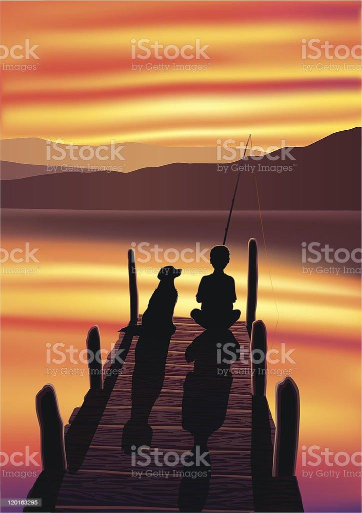 Boy Fishing with His Dog vector art illustration