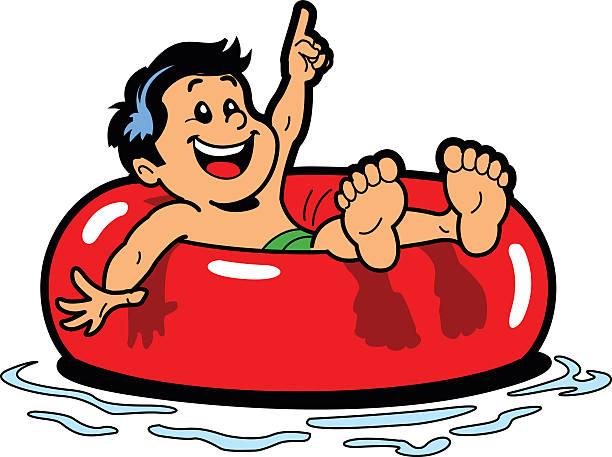 Boy Floating Inner Tube vector art illustration