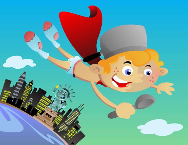 boy fly city vector art illustration