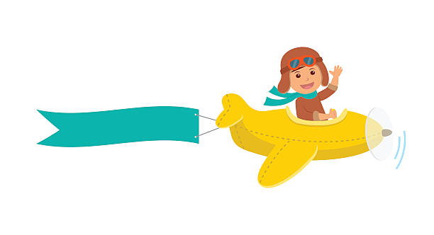 Boy flying on airplane with a ribbon for a message. vector art illustration