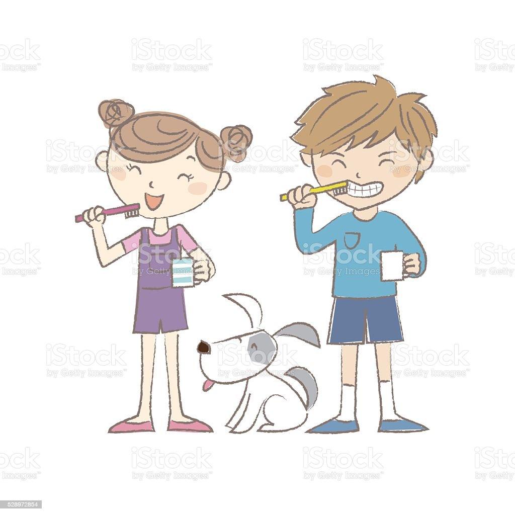 Boy, girl and dog brushing teeth together vector art illustration