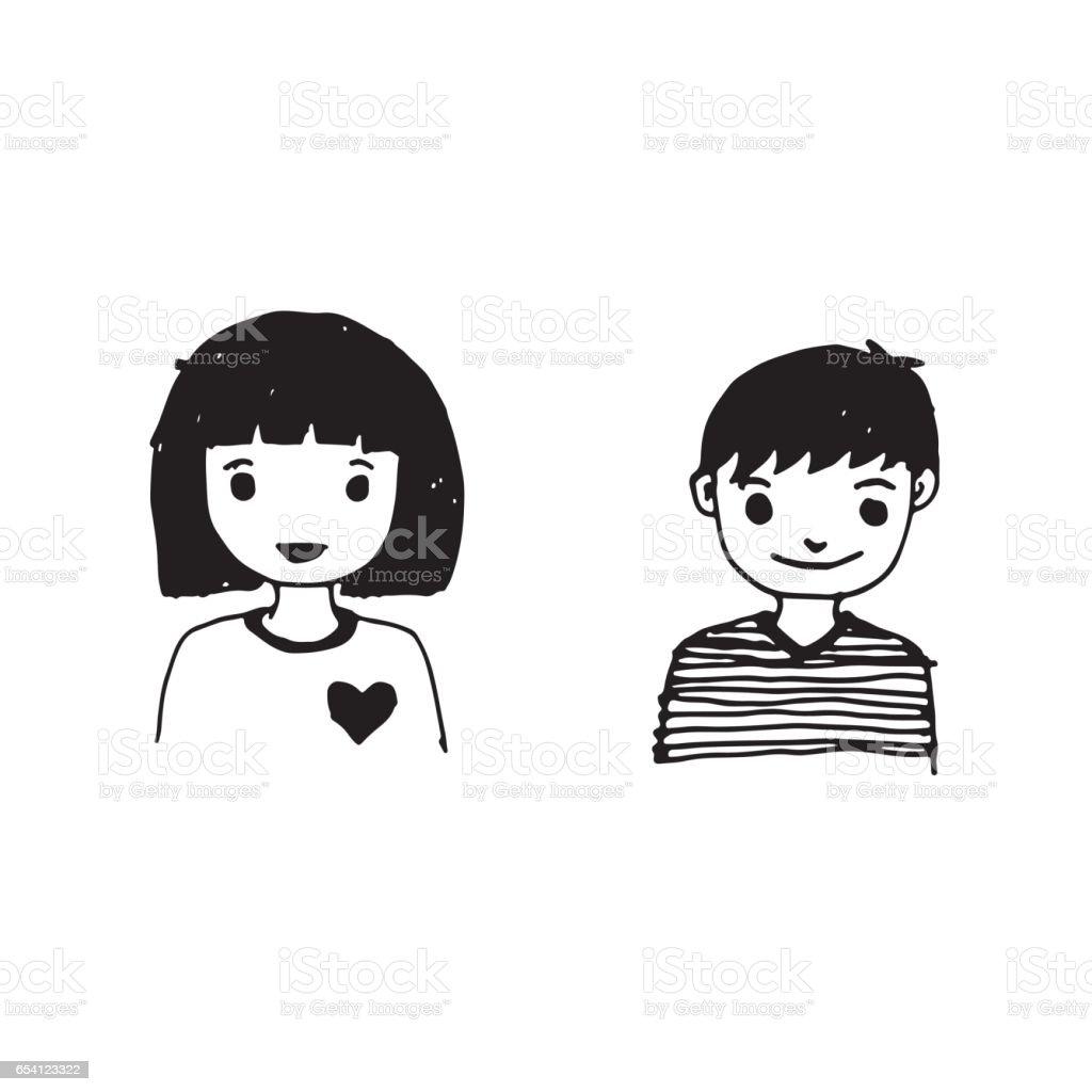 Caricature De Fille Garçon Dessin Conception Illustration