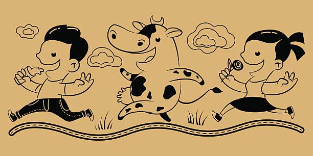 junge mädchen kuh und milch - lustige kuh bilder stock-grafiken, -clipart, -cartoons und -symbole