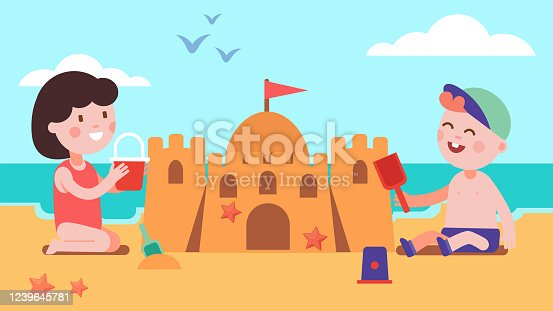 istock Boy & girl kids building sandcastle sitting on summer sea shore beach sand. Happy children cartoon characters playing together holding toy bucket & shovel. Holiday leisure. Flat vector illustration 1239645781