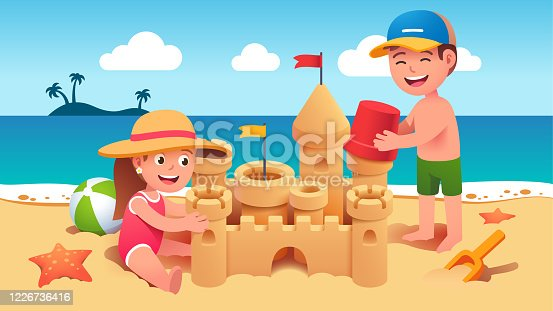 istock Boy & girl kids sitting & standing on sand & building sandcastle on summer sea beach. Happy children cartoon characters holding toy bucket & playing together. Holiday leisure. Flat vector illustration 1226736416