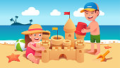 Boy & girl kids sitting & standing on sand & building sandcastle on summer sea beach. Happy children cartoon characters holding toy bucket & playing together. Holiday leisure. Flat style vector isolated illustration