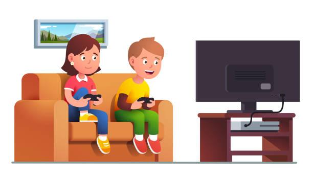 ilustrações de stock, clip art, desenhos animados e ícones de boy, girl sit on sofa playing console video game - tv e familia e ecrã