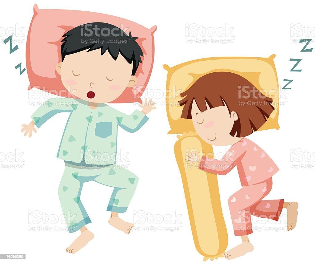 Boy  girl sleeping side  side vector art illustration