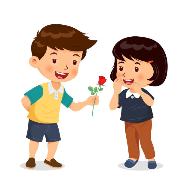 Image result for boy giving rose to girl