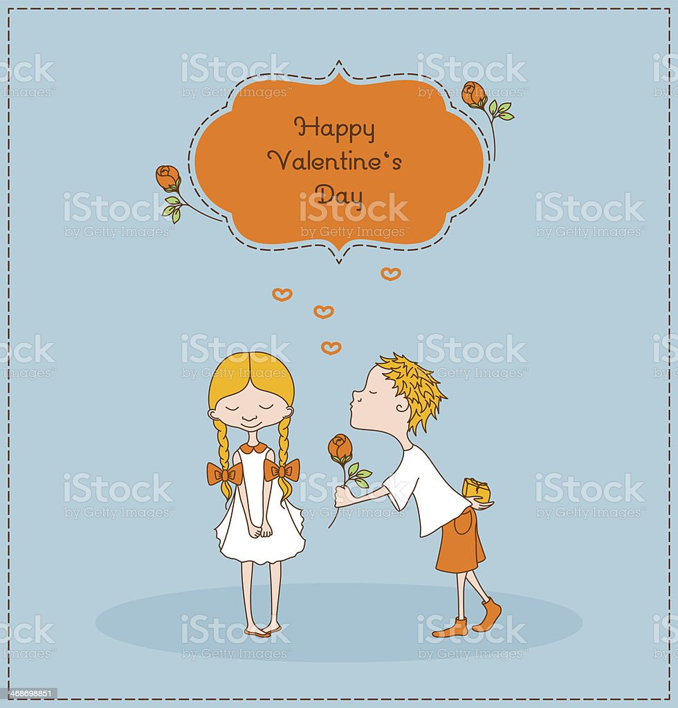 Boy gives flower to a girl. Valentines day vector art illustration